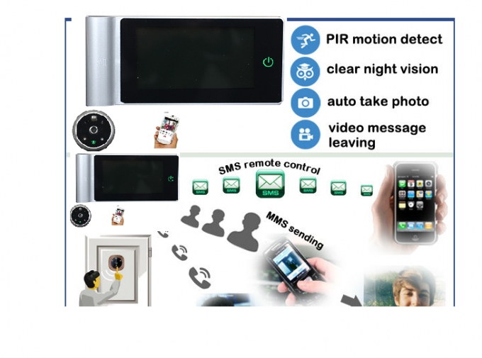 32GB TF Card Door Peephole Viewer Camera / Digital Door Viewer With Motion Sensor